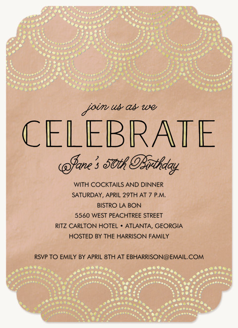 Art Deco Celebration  Dinner & Cocktail Party Invitations