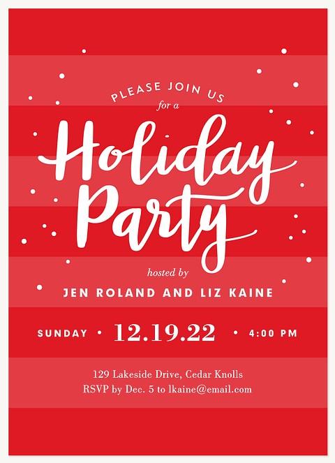 Jolly Dots & Stripes Holiday Party Invitations