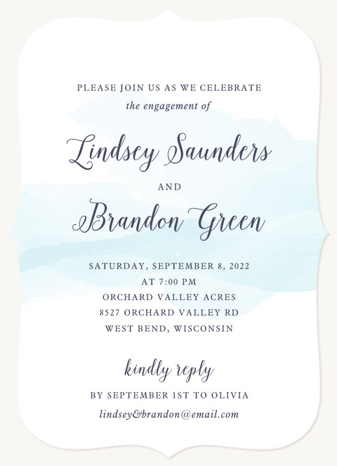 Soft Watercolor Engagement Party Invitations
