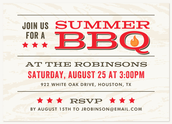 Rustic BBQ Summer Party Invitations