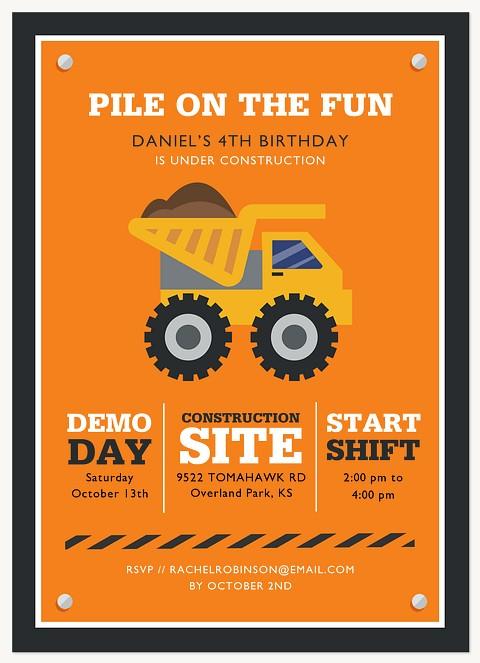 Under Construction Kids Birthday Invitations