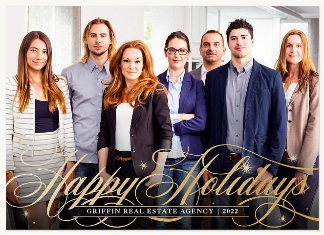 Elegant Swash Business Holiday Cards