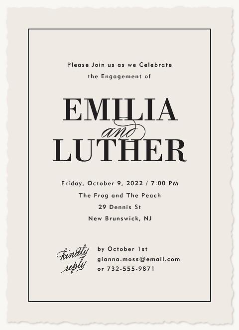 Tuxedo Engagement Party Invitations