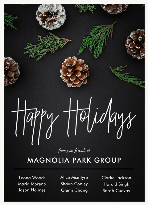 Chalkboard Pine Business Holiday Cards